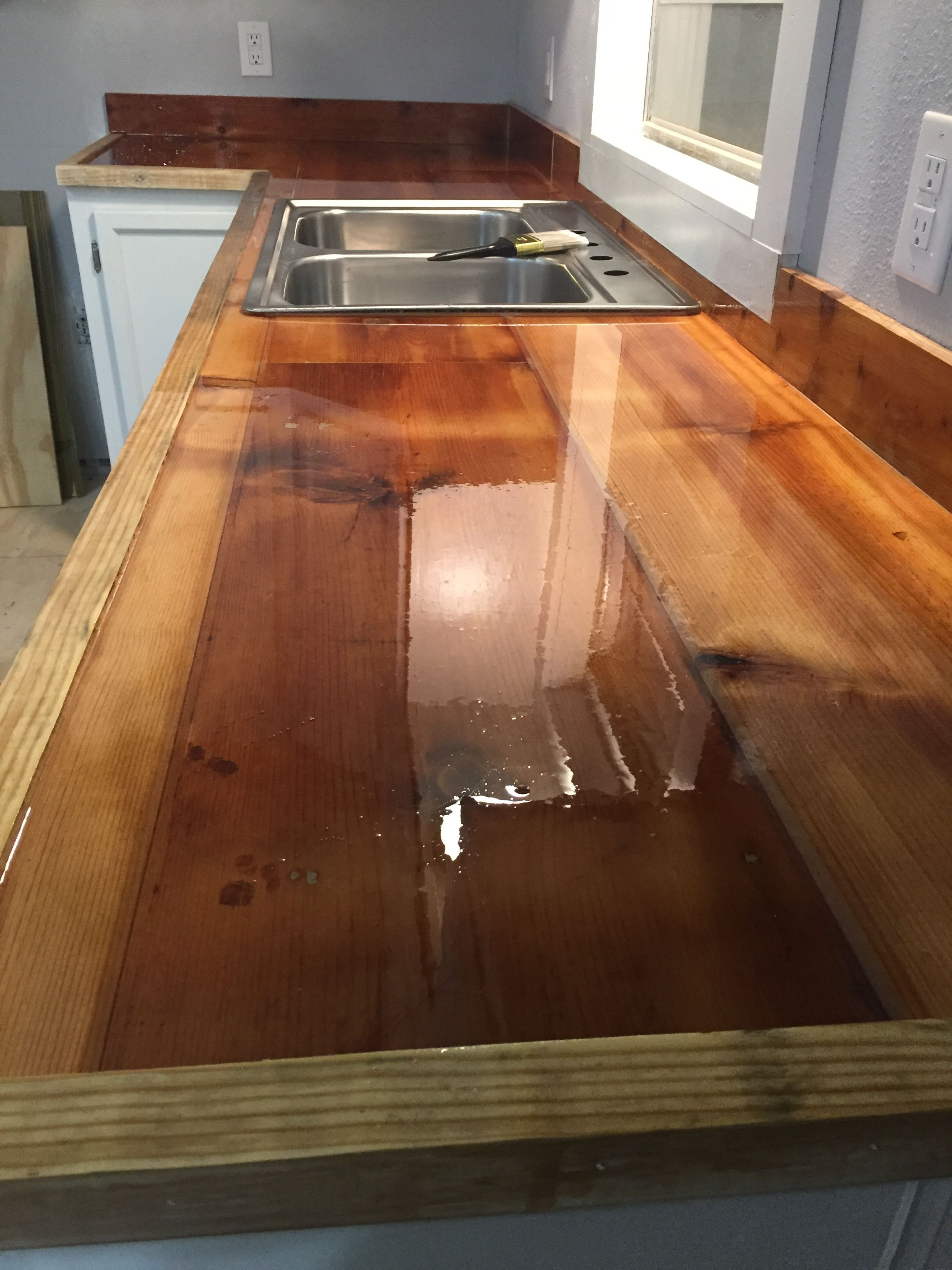 Reclaimed Wood Kitchen Countertops Sealed With Epoxy