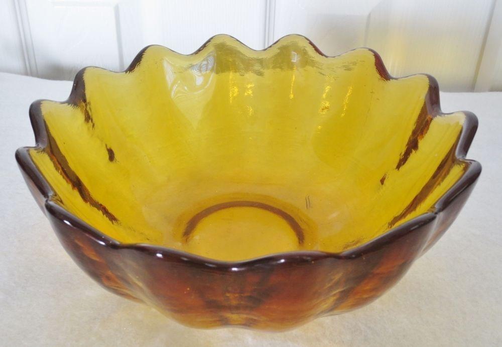 Vintage BLENKO Art Glass Large LOTUS FLOWER Salad Bowl-AMBER GOLD-Etched Mark