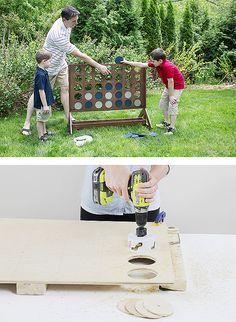 Ein Riesiges Vier Gewinnt Spiel Fur Den Garten Selber Bauen Warum Nicht Backyard Games Diy Backyard Backyard