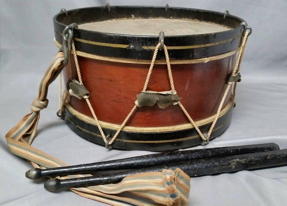 Antique civil war era rope tension drum with strap black