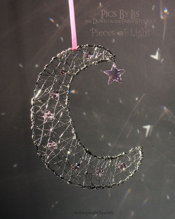 Silver Crescent Moon Starcatcher With 9 Pink Star Crystals Pieces Of Light Ornament Beads And Wire Crystal Suncatchers Wire Art
