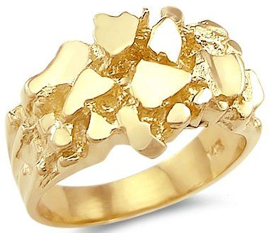 New 14k Solid Yellow Gold Large Mens Nugget Ring Band Jewelry Amazon Com Gold Pinky Ring Gold And Silver Rings Gold Nugget Ring