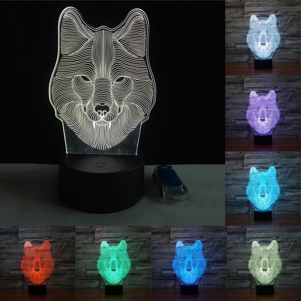 7 Color Wolf Lamp 3d Visual Led Night Lights Touch Usb Table Led Night Light Night Light Light Colors