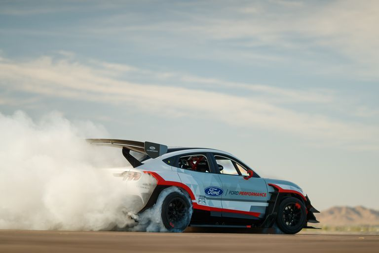 The Ford Mustang Mach E 1400 Is An Electric Drift Machine With Seven Motors In 2020 Mustang Ford Mustang E Electric