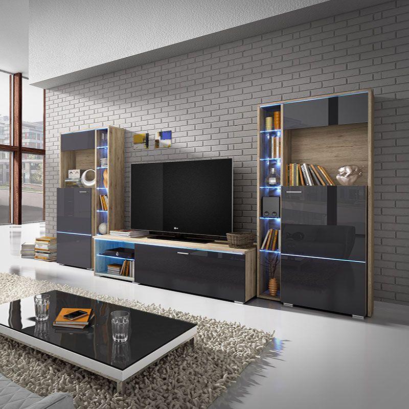 Ensemble Meuble Tv Couleur Bois Et Gris Laque Moderne Meuble Rangement Ensemble Meuble Tv Meuble