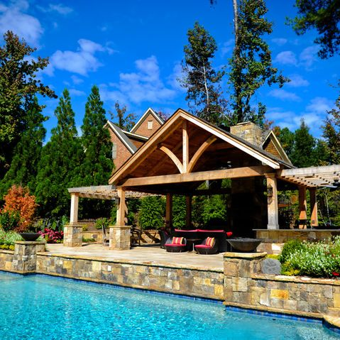 Rustic Pool House Marietta Porch With Lounge To Beautify Exotic Pool