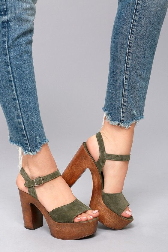 d0b928cd42c Steve Madden Lulla Olive Suede Leather Platform Sandals 1