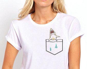 57d76d8d0 Ladies Pocket T-Shirt | Great White Shark | Funny Great White Shark | Pocket  T-Shirts | Ladies Pocket Tee Shirt | Cool Shark | Gift For Her