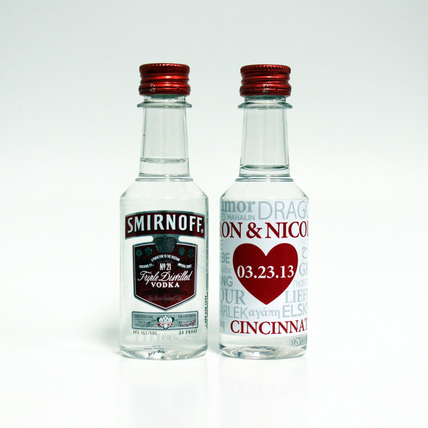 50 Custom Smirnoff Vodka Mini Liquor Bottle Labels Wedding Favors ...