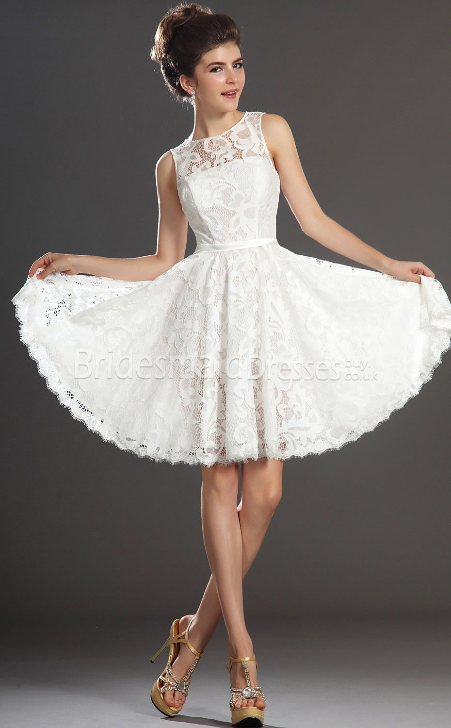 White Short Lace Bridesmaids Dresses