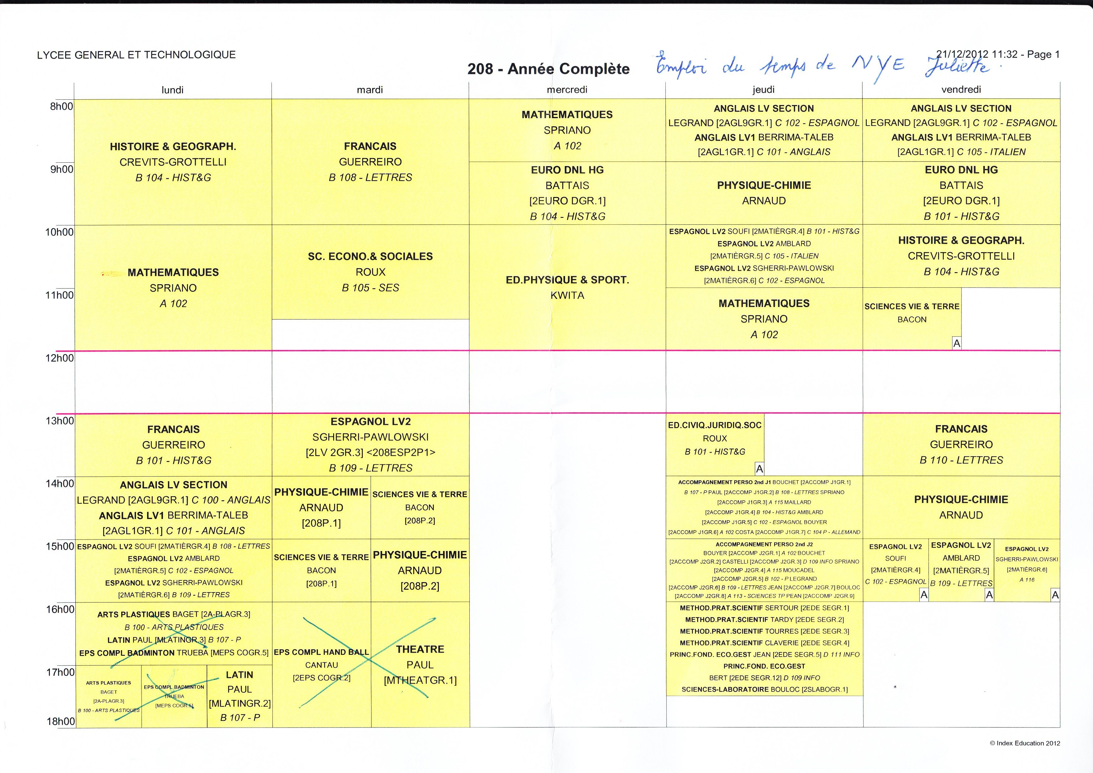Example Of A French Student Schedule