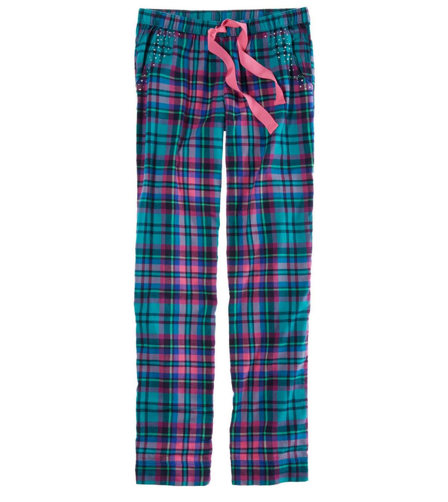 Blue /& Green Plaid Flannel Graphic Sleep Lounge Pants