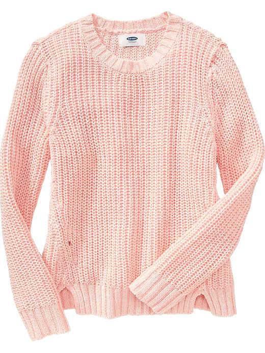 4b9a0d6132 Girls Loose-Knit Vented Sweater