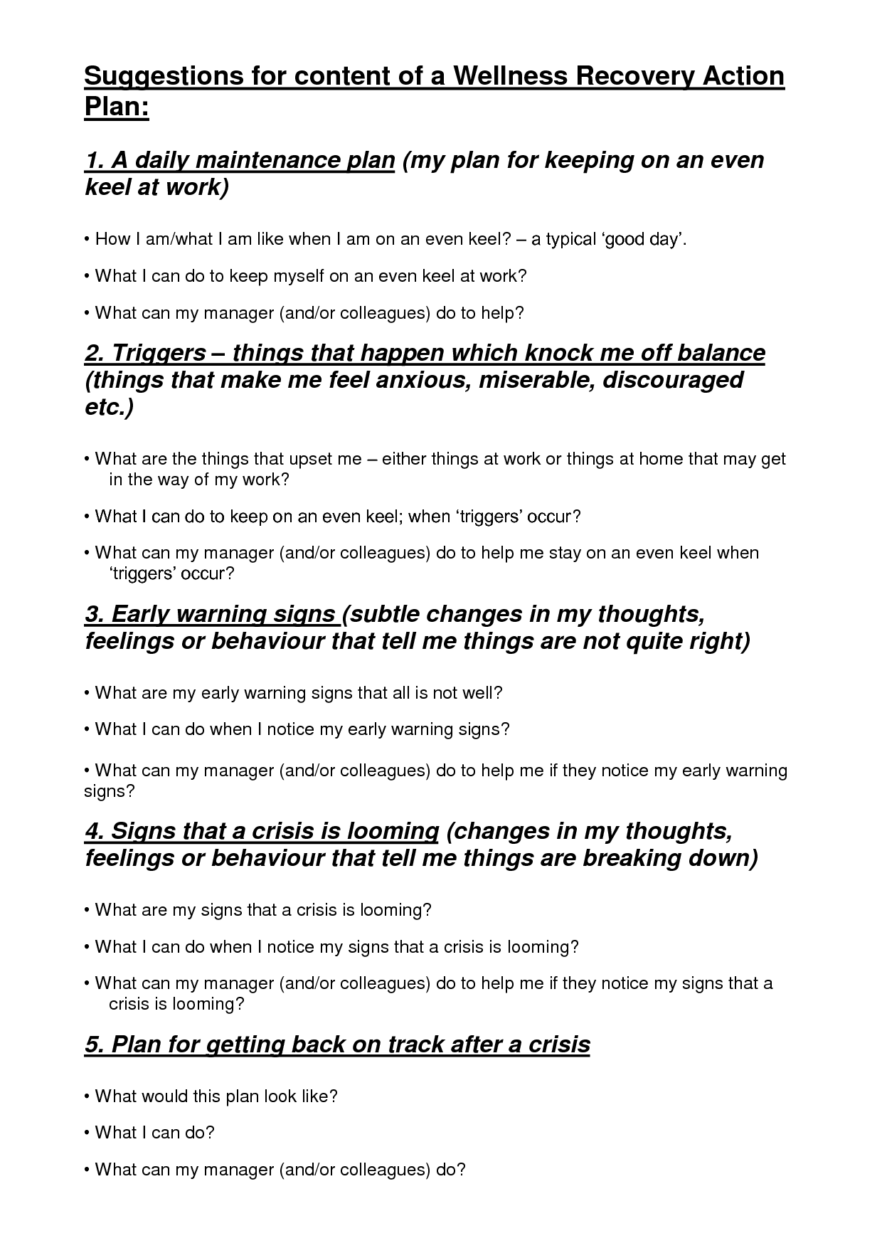 9 Best Images Of Wellness Recovery Plan Worksheets
