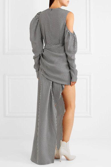 Official Cheap Price 100% Original Sevilla Asymmetric Draped Striped Silk Dress - Gray Magda Butrym FUeIB7
