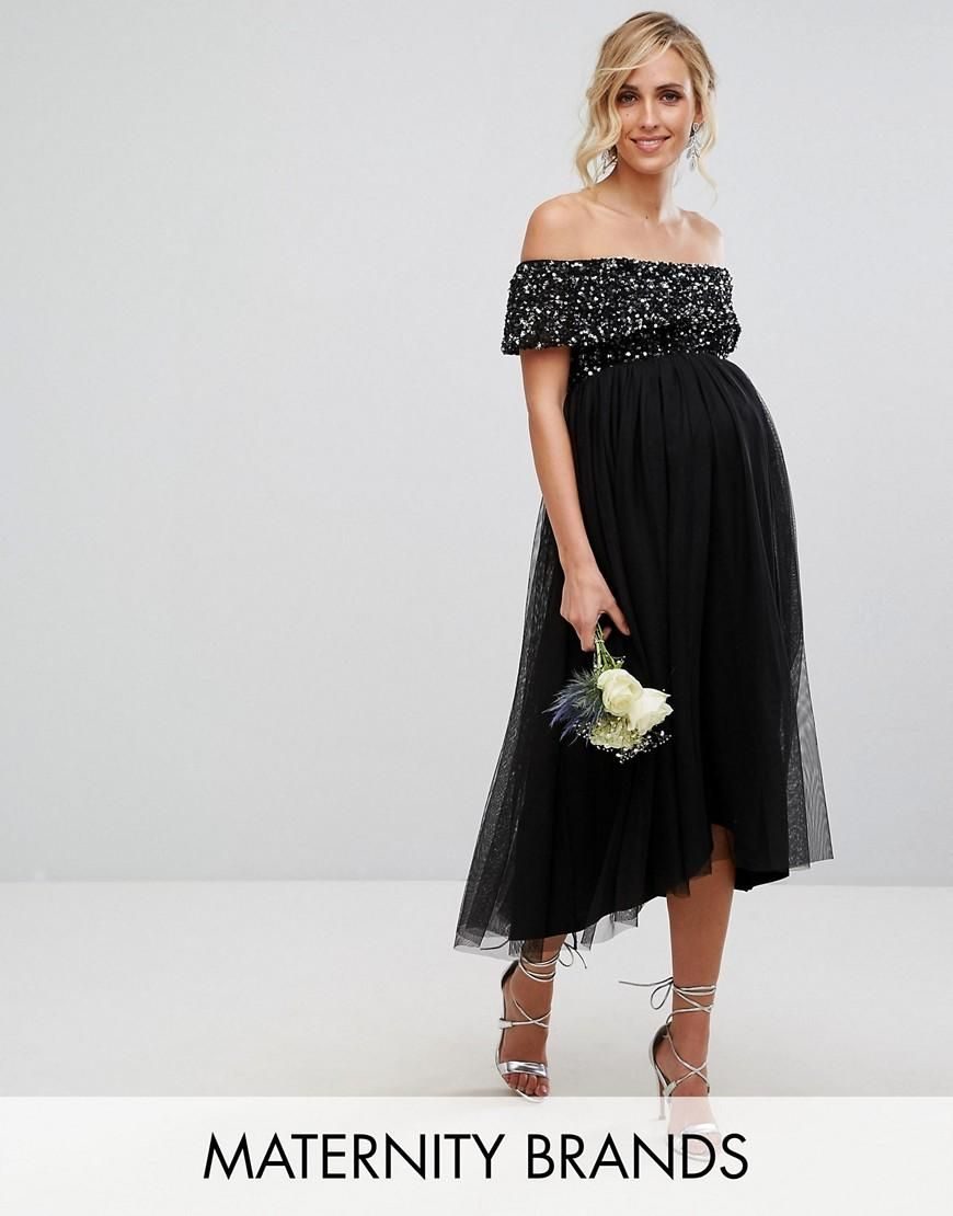 8617fef3ea  ASOS -  Maya Maternity Maya Maternity Bardot Midi Dress In Tonal Delicate  Sequin With Tulle Skirt - Black - AdoreWe.com