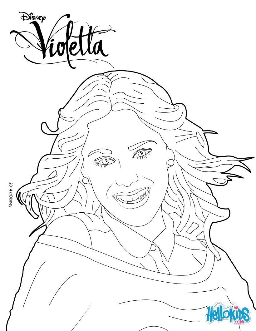 Here A Original Disney Coloring Page Of The Series Violetta Color This Pretty Portrait Of The Singer A Perfect Dra In 2021 Disney Coloring Pages Coloring Pages Color