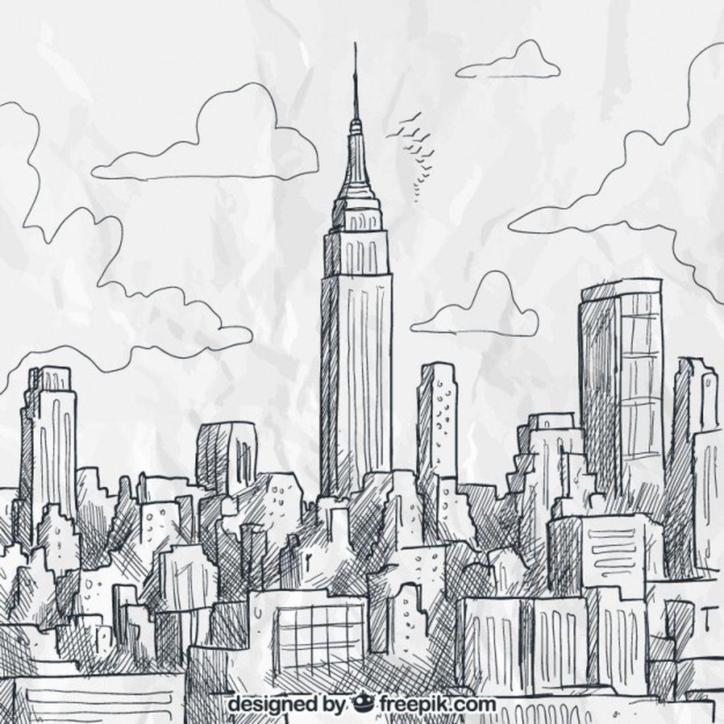 Sketchy New York Skyline Paid Ad Sponsored Skyline York Sketchy Dibujos De Edificios Ciudad Para Dibujar Dibujo De Mundo