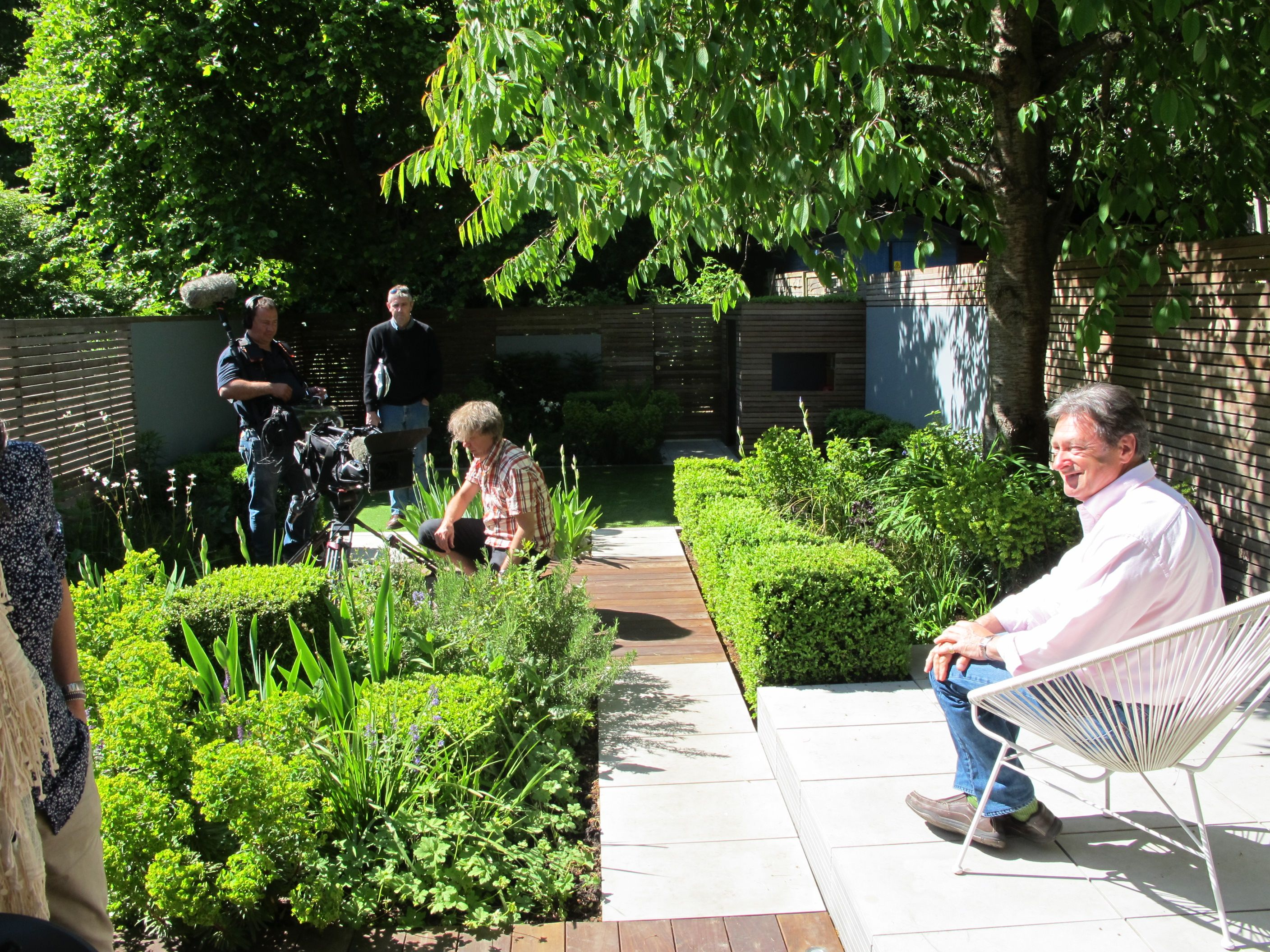 Alan Titchmarsh filming Love Your Garden for ITV North London