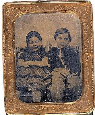 tintype twins photo children brother sister gold frame 2.5 in ...