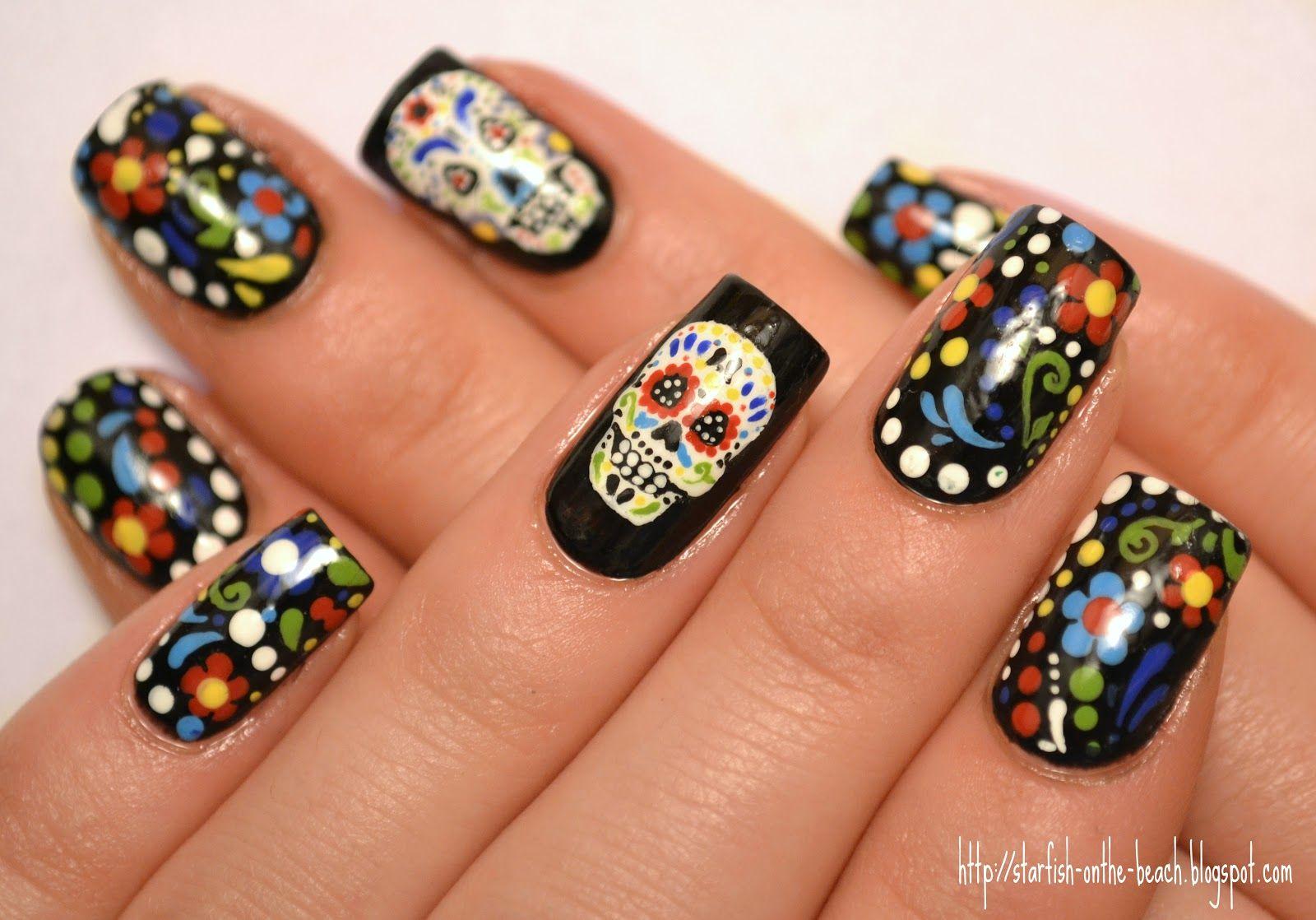 Sugar skull nails, this is dope | makeup | Pinterest | Sugar skull ...