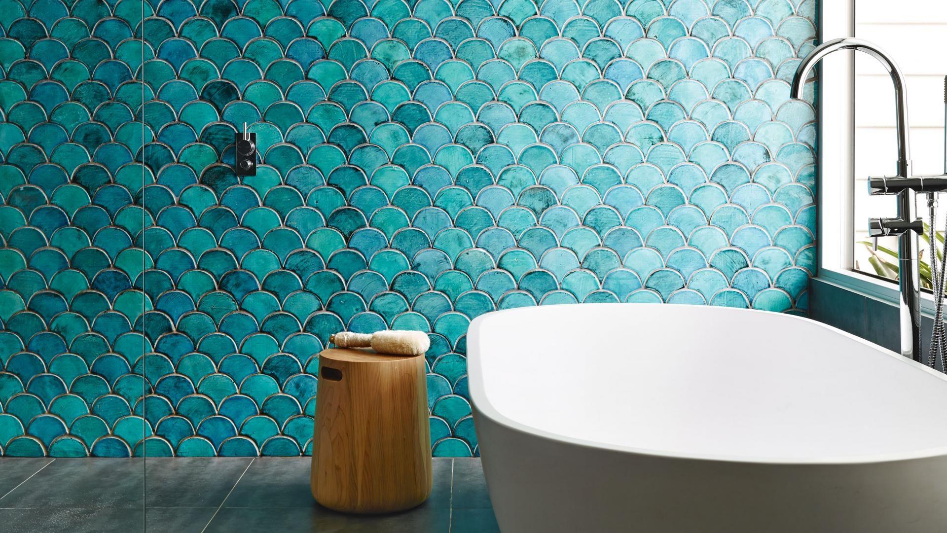 Bathroom blue green tiles bath tub timber stool Feb15 images by A ...