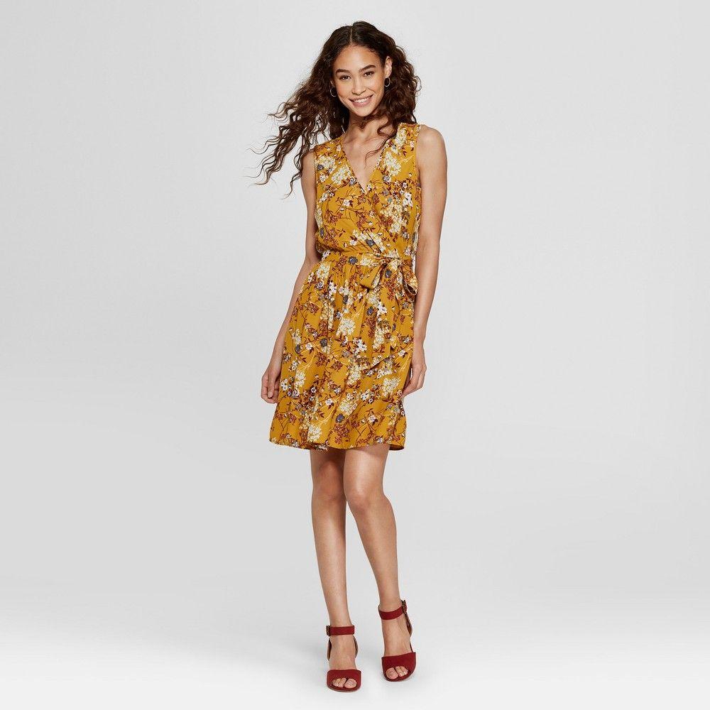 56635db12c928 Women s Sleeveless Floral Wrap Tie Waist Dress - Xhilaration Yellow ...