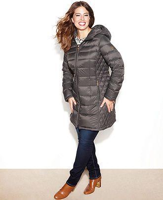 7ca6e13b4cd MICHAEL Michael Kors Plus Size Coat, Hooded Quilted Down Packable Puffer -  Coats - Women - Macy's