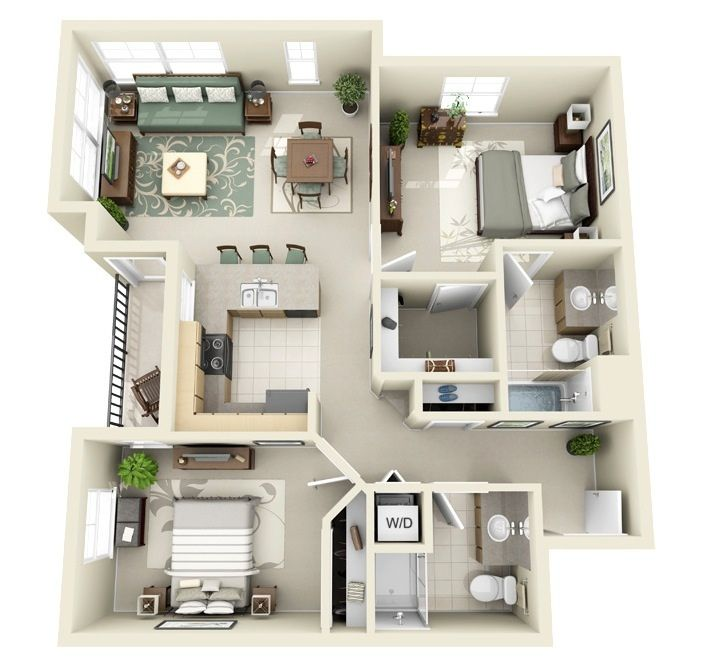 Apartments For Rent Two Bedroom: 50 3D FLOOR PLANS, LAY-OUT DESIGNS FOR 2 BEDROOM HOUSE OR