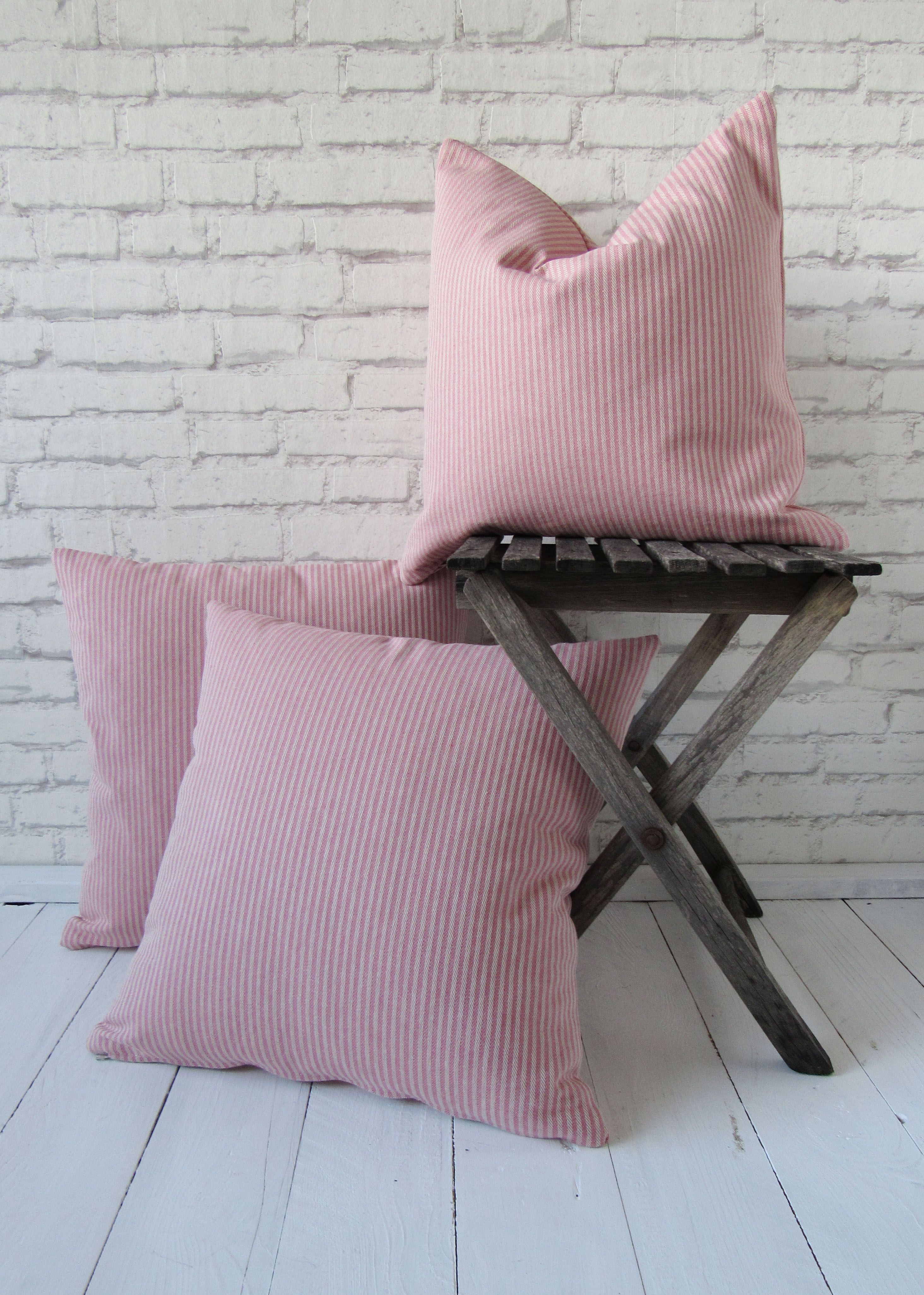 Herringbone Pillow Case 16x16 Inch Blush Pink Rustic