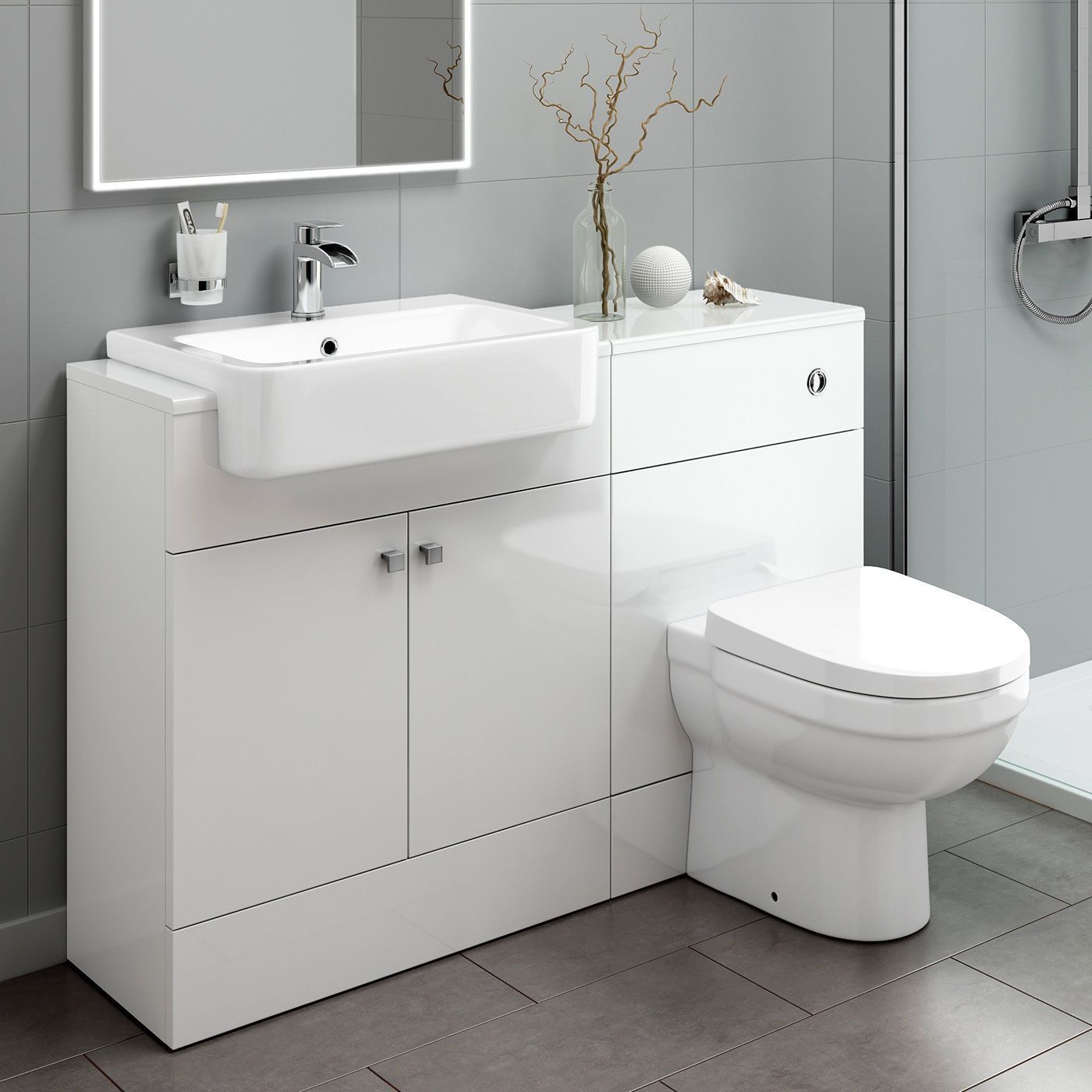 This toilet and sink vanity storage unit features a built in toilet ...