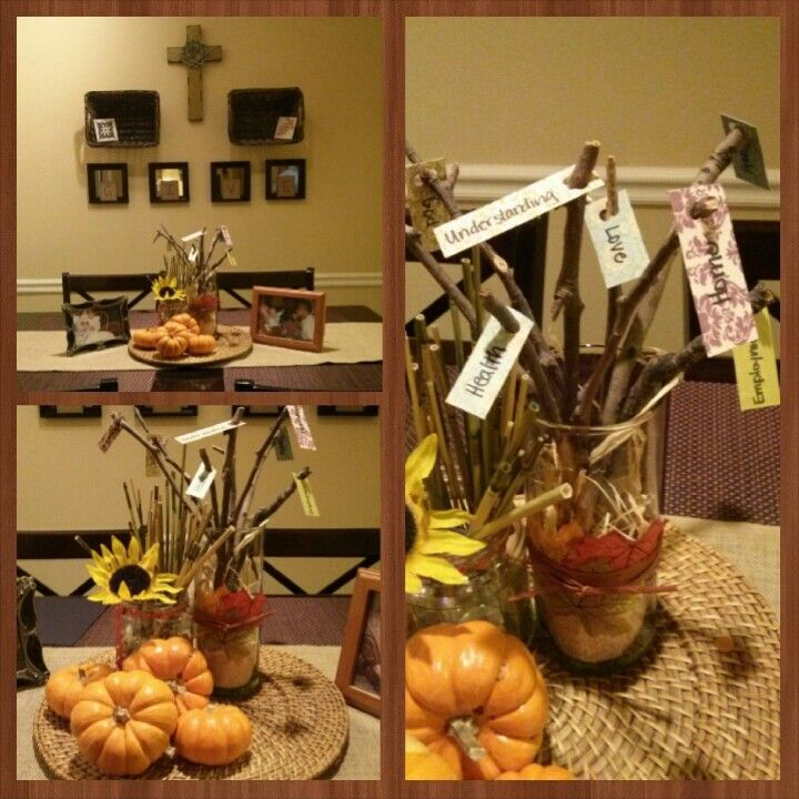 My version of A Thanksgiving Setting....Thankful Tree!! Will put plates out the day of!!!!