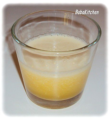 smoothie jus de mangue et 2 tranches d'ananas  http://www.babakitchen.be/article-smoothie-mangue-et-ananas-104321866.html