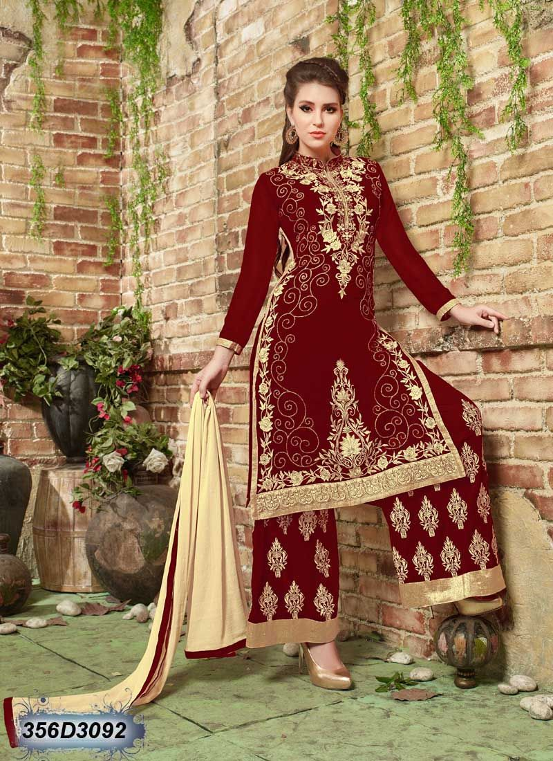 Dynamic maroon coloured georgette semi stitched salwar suit