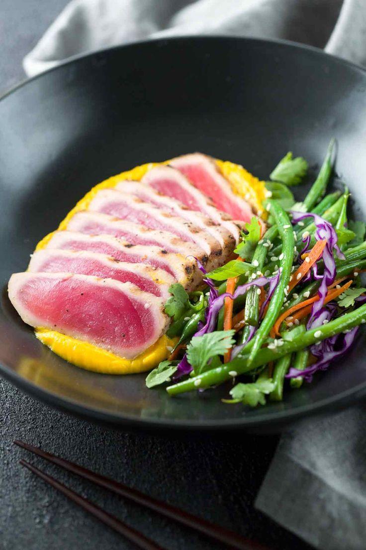Seared Ahi Tuna with Crispy Sesame Green Beans