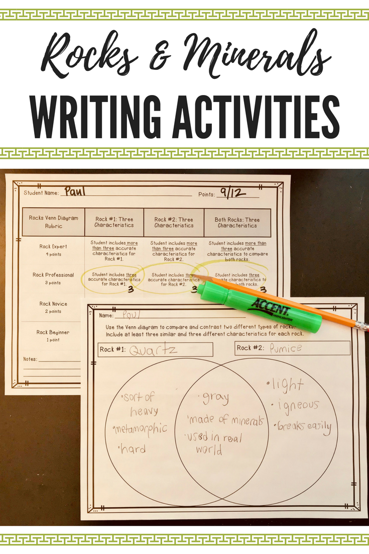 Workbooks rocks and minerals worksheets 3rd grade : Rocks and Minerals: Writing Activities and Rubrics | Formative ...