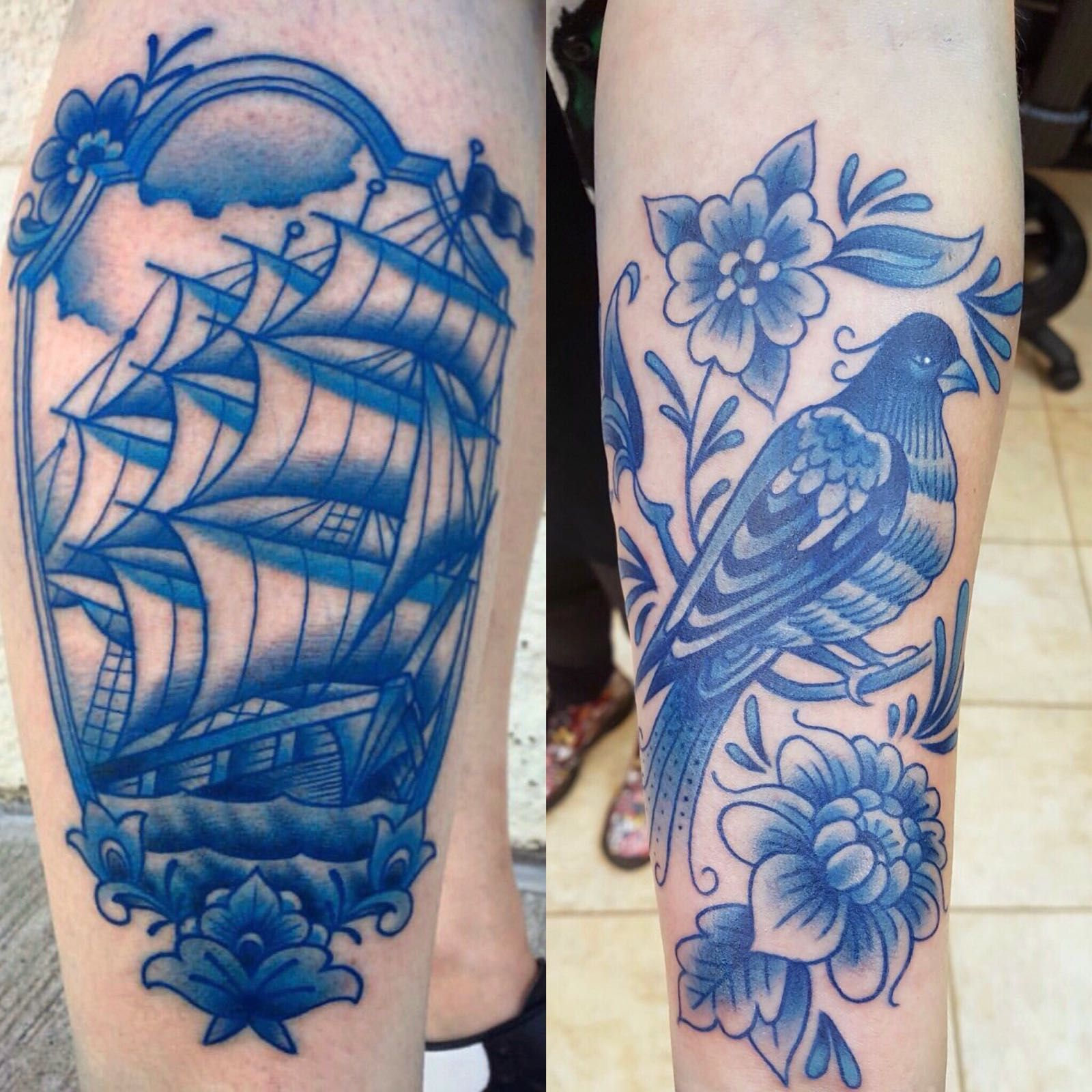 My First And Second Delft Blue Tattoos By Jon Squires Urge 2 Tattoo Edmonton Alberta Blue Tattoo Blue Ink Tattoos Tattoos
