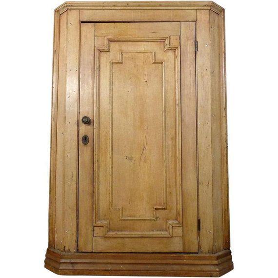 19th Century Antique Swedish Pine Corner Cabinet - 19th Century Antique Swedish Pine Corner Cabinet Bleached Pine