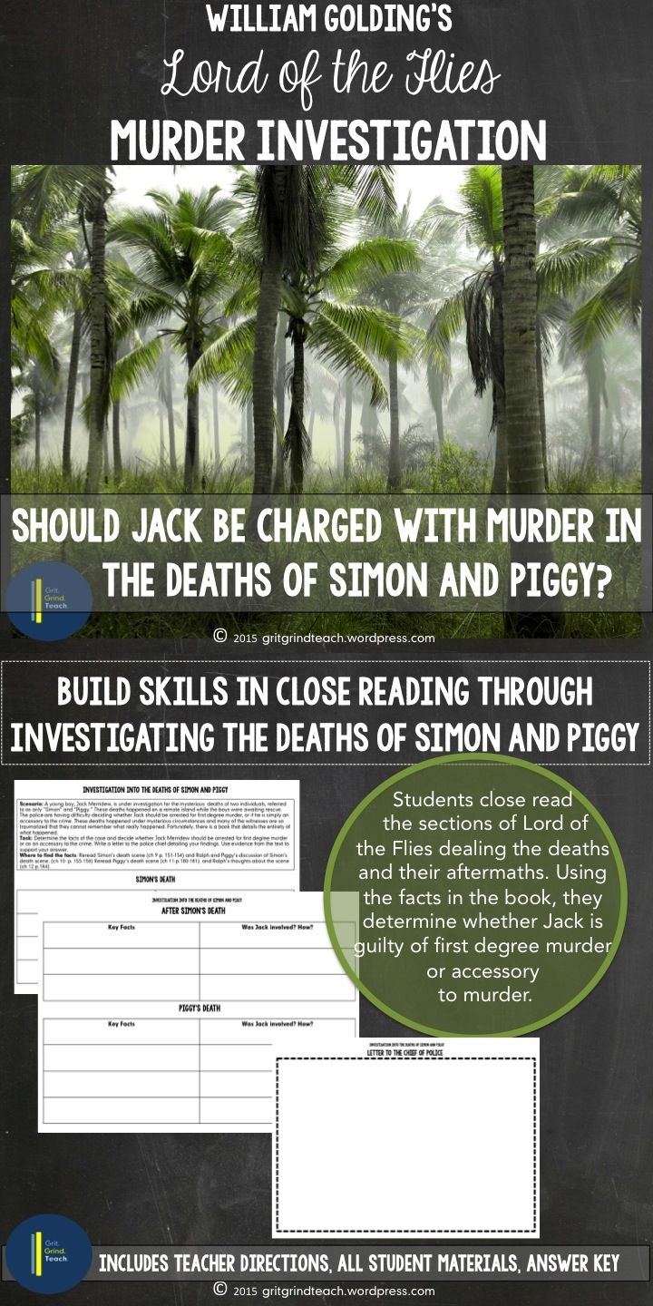 lord of the flies close reading and argumentative writing lord of the flies close reading and argumentative writing a project investigating the deaths of simon and piggy this resource is a culminating project for