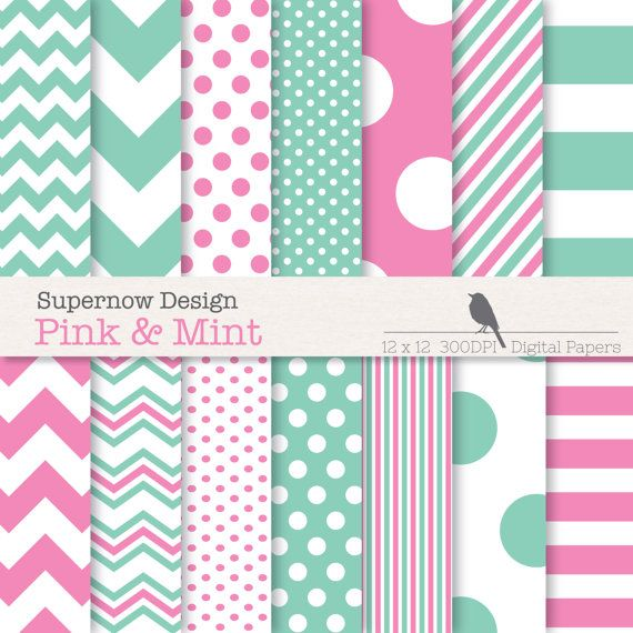 Digital Paper Pack Pink and Mint Papers.  Mixed by SupernowDesign