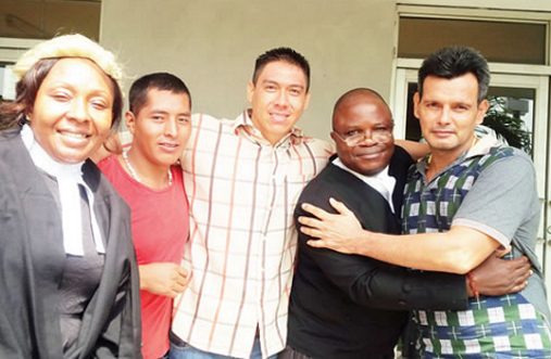 Pictured! Bolivians Jubilate In Court After Getting Lesser Sentences For Drugs In Nigeria