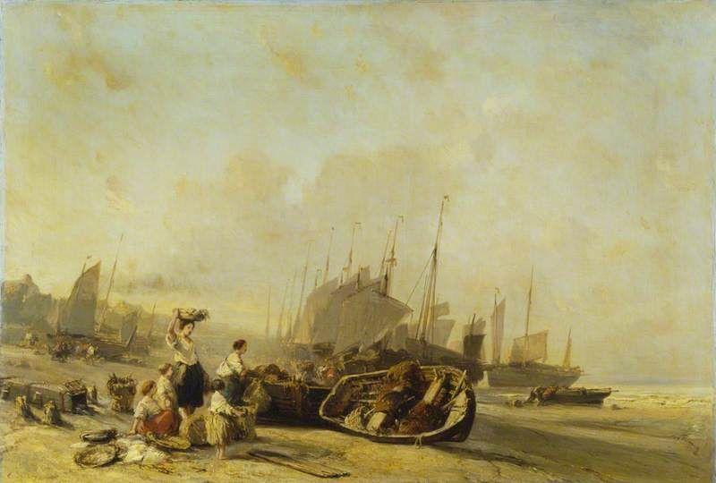 Eugene Isabey Bateaux Sur La Rive De Calais 1851