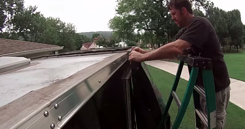 Cheap And Easy Diy Awning With Supplies From Harbor Freight Diy Awning Camper Awnings Trailer Awning