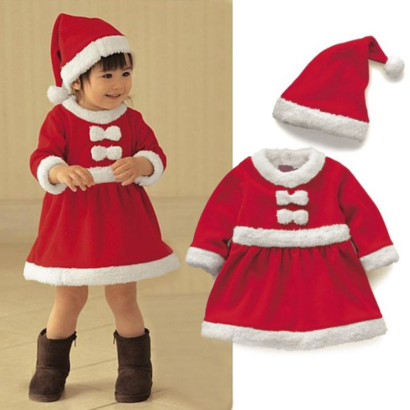 New Good Quality Kids Gilrs Santa Claus Costume Red Xmas Party Fancy