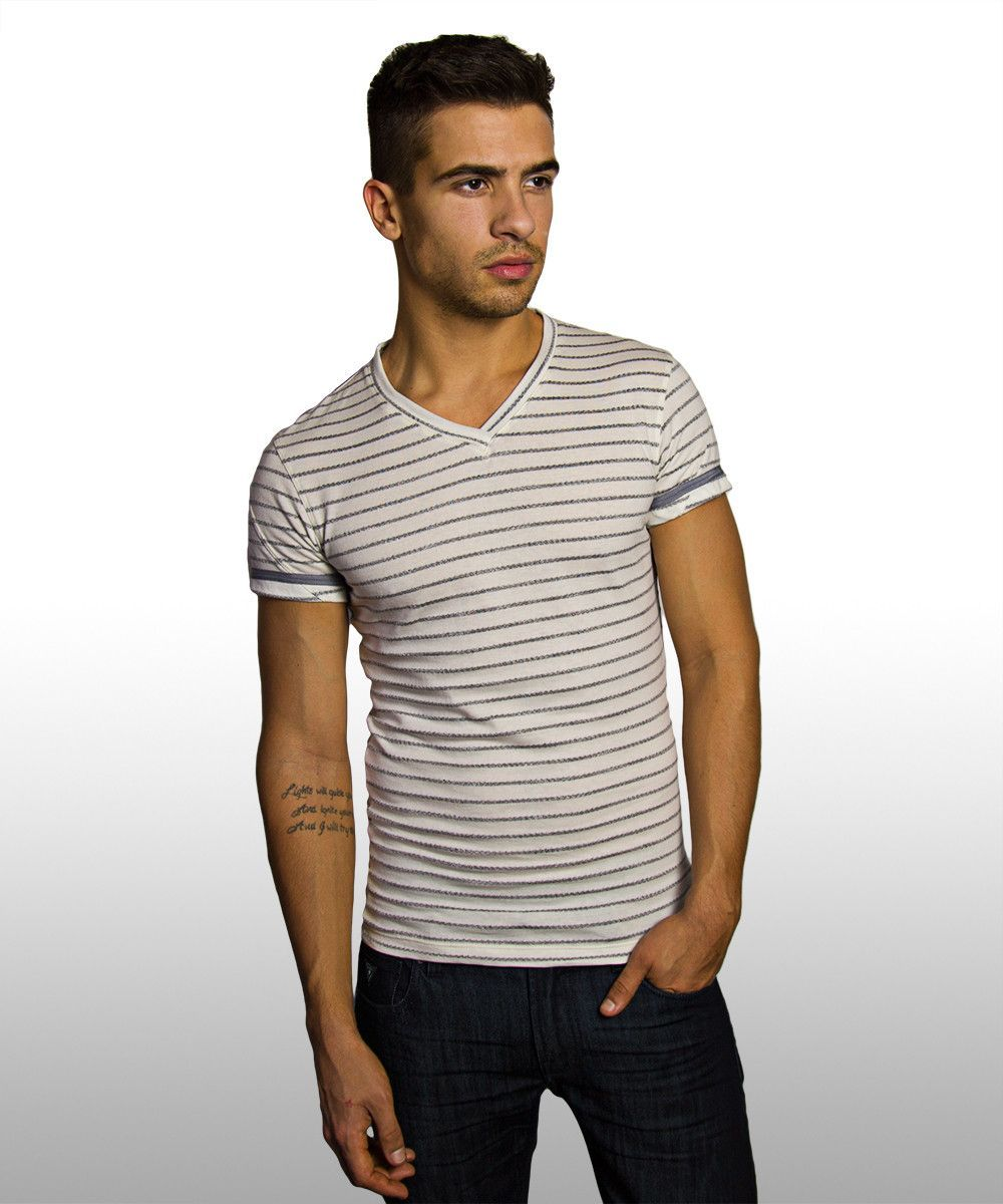 Vince White & Silver Striped Banded Fashion T-Shirt