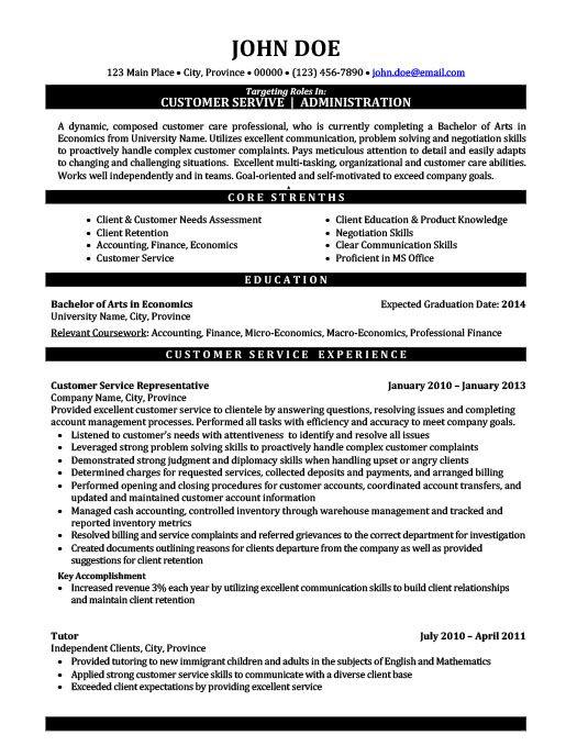 Customer Service Administration Resume Template Premium Resume