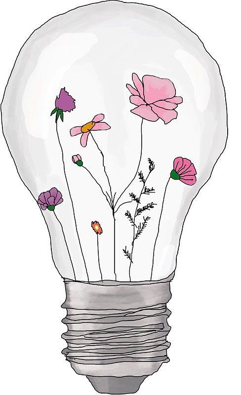 Bulb Full Of Flowers Pegatina En 2020 Focos Dibujos Dibujos De Novios Y Dibujos Simples Tumblr