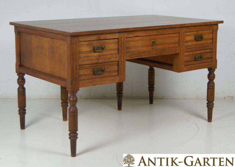 Details zu ANTIK! Schreibtisch restauriert Jugendstil Eiche massiv ...