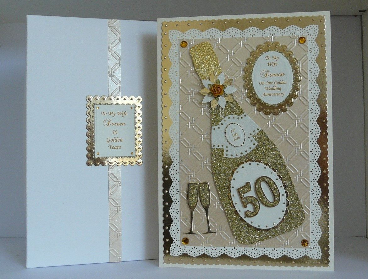 50th Golden Wedding Anniversary Card Wife//Husband//Mum Dad//Friends Personalised