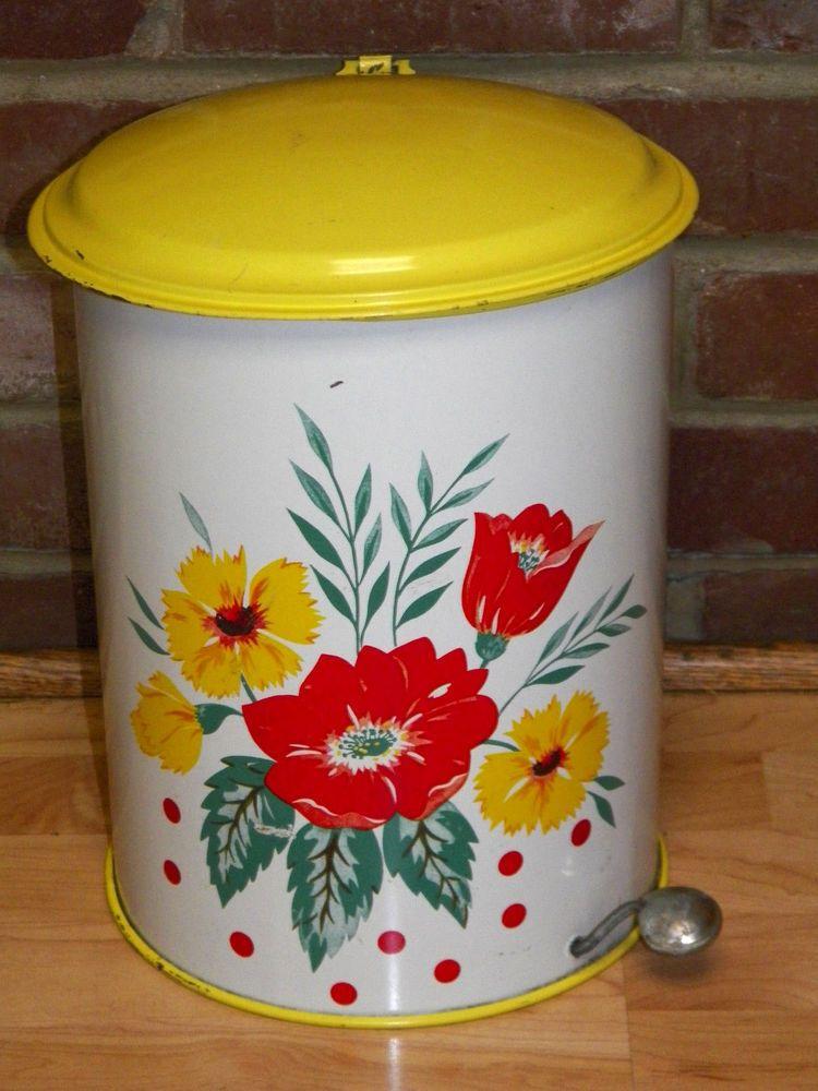 Vintage 1950 S Tin Metal Floral Garbage Trash Can